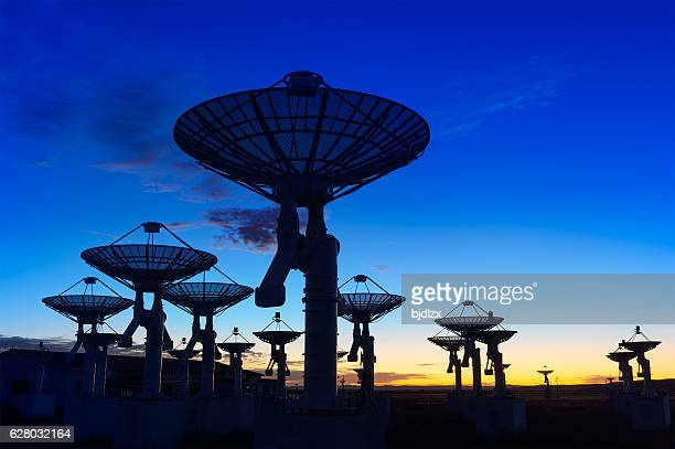 Observatory antenna in the sunset