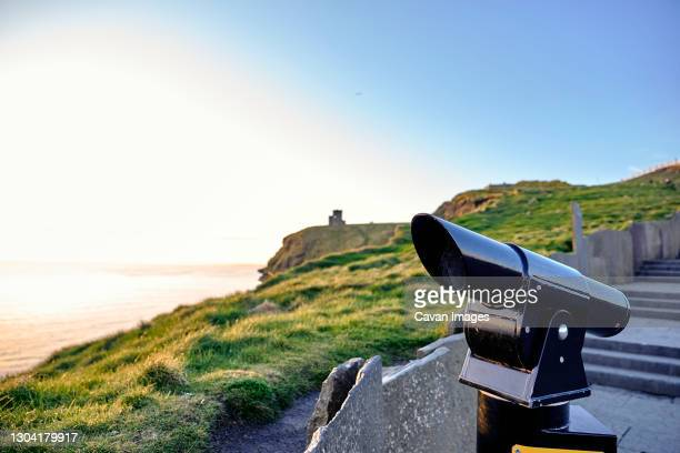 observatory at the cliffs of moher during sunset - 2018 stock pictures, royalty-free photos & images