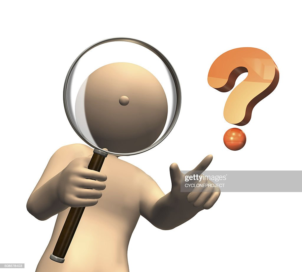 I observe something with magnifying glass. : Stock Photo