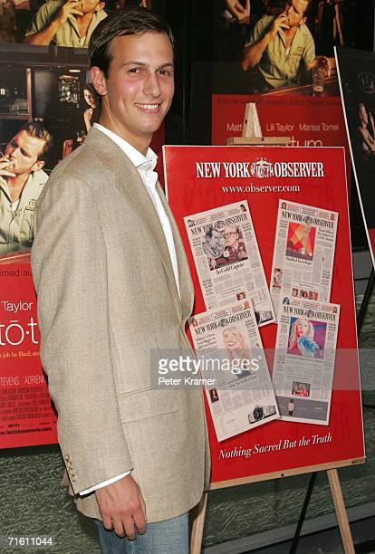Observer Owner Jared Kushner attends The New York Observer IFC Films Premiere Of Factotum on August 8 2006 in New York City