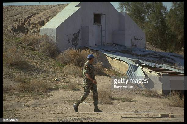 UNIKOM observer personnel by bunker prob once housing Silkworm missiles stolen by Iraq at UN base in gulf war demilitarized zone between Iraq Kuwait