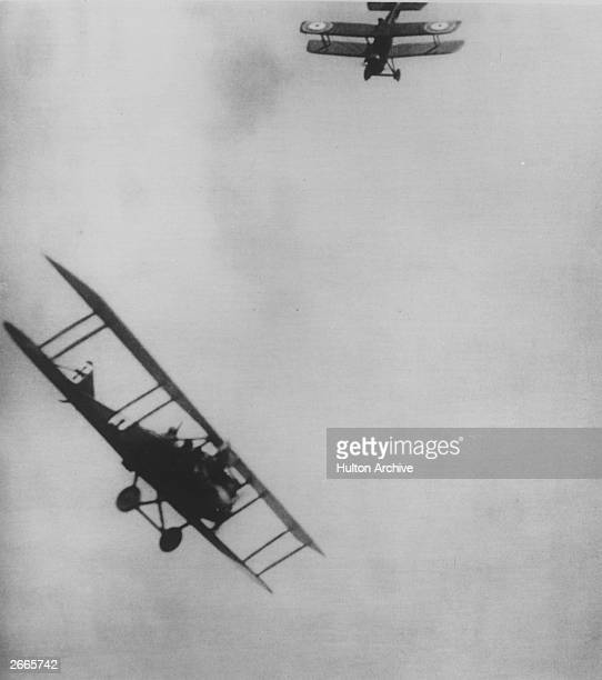 Observers in the back of two bi-planes taking pot shots at each other with revolvers: aerial warfare was born from this approach.