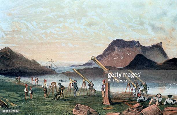 Observing a total solar eclipse 1851 Members of the Edinburgh expedition on Bue Island Norway with their instruments set up ready for viewing the...