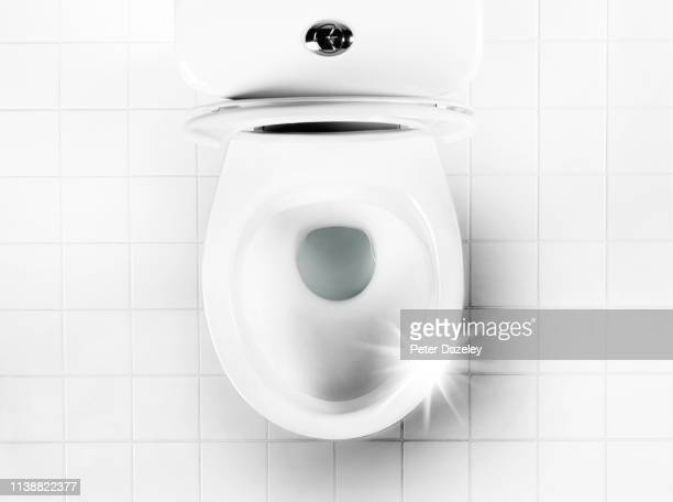 obsessively clean toilet bowl - public toilet stock pictures, royalty-free photos & images