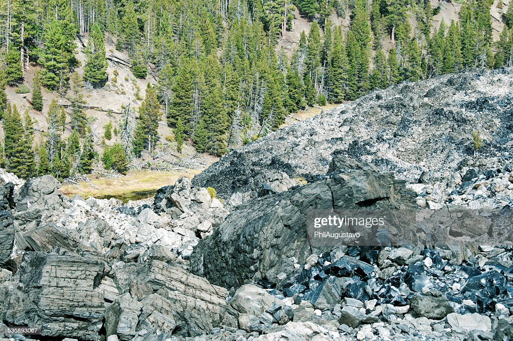 Obsidian at ancient lava flow in central Oregon : Stock Photo