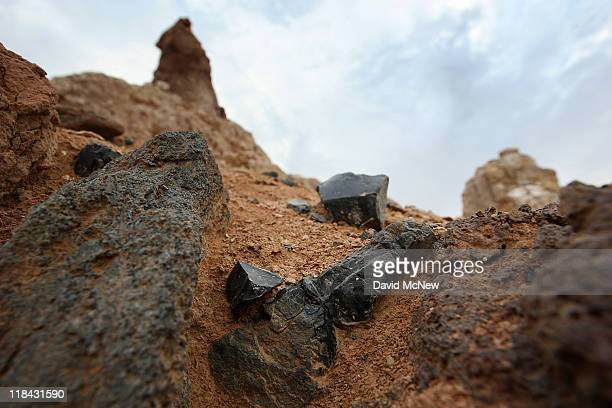 Obsidian volcanic stone valued by native Americans for millennia for making arrowheads and spear tips and for trading with other tribes are seen...