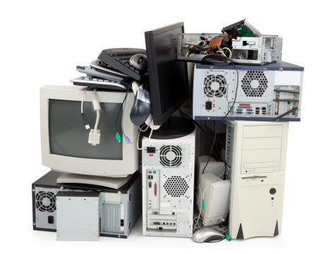 Obsolete computer electronics equipment for recycling 186879686