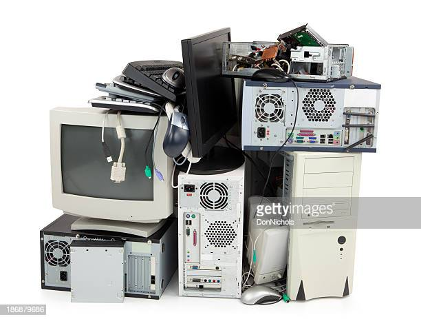 obsolete computer electronics equipment for recycling - electronics stock pictures, royalty-free photos & images