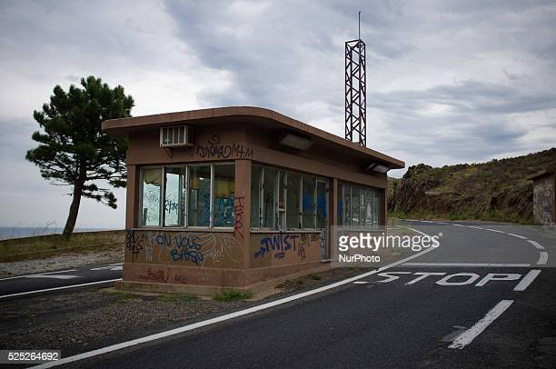 Obsolete Customs building is seen from nobody's land on the former border between Spain and France at the top of the Coll dels Belitres on 4th...