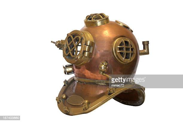 obsolete diving helmet with clipping path - scuba mask stock pictures, royalty-free photos & images