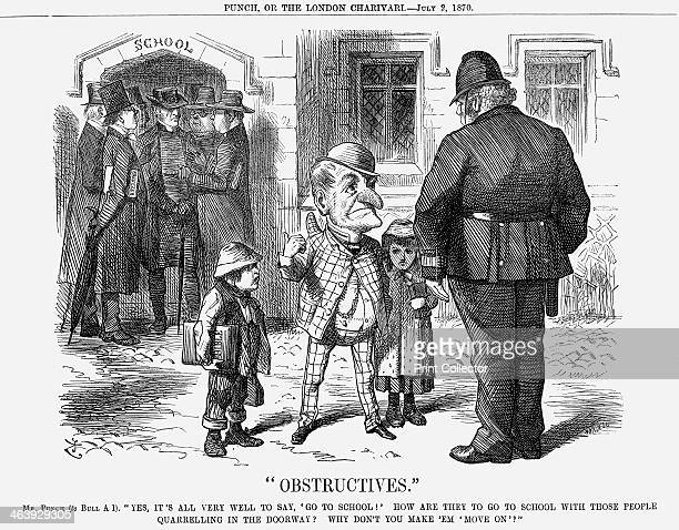 Obstructives 1870 In the doorway of the school a variety of Ministers and Nonconformists argue whilst Mr Punch tells Policeman Bull that this...