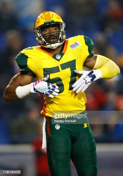 Obum Gwacham of the Arizona Hotshots reacts during the first quarter of the Alliance of American Football game against the Memphis Express at Liberty...