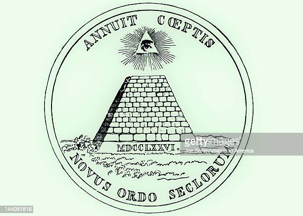 Obverse side of National Seal of the United States, a pyramid with all seeing eye of providence - Novus Ordo Seclorum