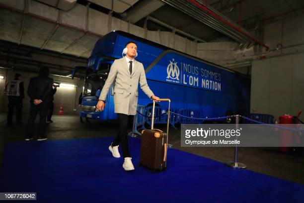 Ocampos Lucas arrival at Stade Velodrome prior to the Ligue 1 match between Olympique de Marseille v Stade Reims on December 1 2018 in Marseille...