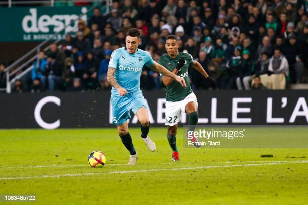 Ocampos Lucas of Marseille and Monnet Paquet Kevin of Saint Etienne during the Ligue 1 match between Saint Etienne and Marseille at Stade...