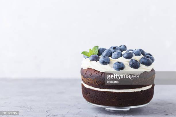 Occasions. Blueberry and cream cheese  chocolate layer cake