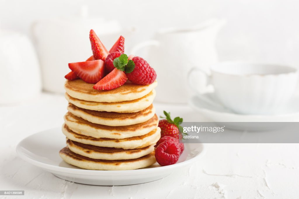 Occasions. Pancakes with fresh strawberries : Stock Photo