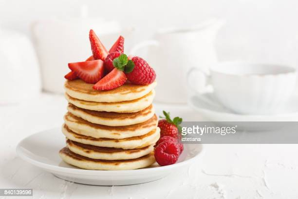 Occasions. Pancakes with fresh strawberries
