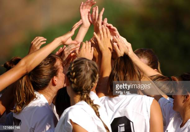 Occidental College players huddle before start of SCIAC women's soccer match against Redlands at Occidental College in Eagle Rock Calif on Wednesday...