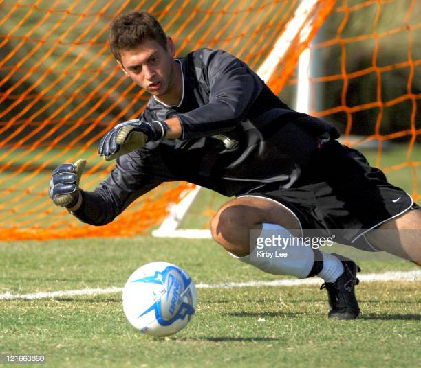 Occidental goalkeeper Alex Combs makes a diving save during 21 loss to Redlands in SCIAC soccer match at Occidental College in Eagle Rock Calif on...