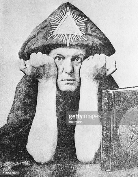 Occultist Aleister Crowley in Odd Hat circa 1954