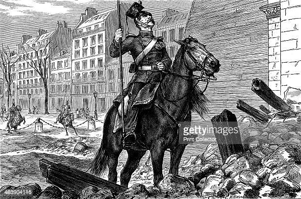 Occupation of Paris by the Germans after the Franco-Prussian War, March 1871. A uhlan on horseback in a street strewn with rubble gazes up at the Arc...