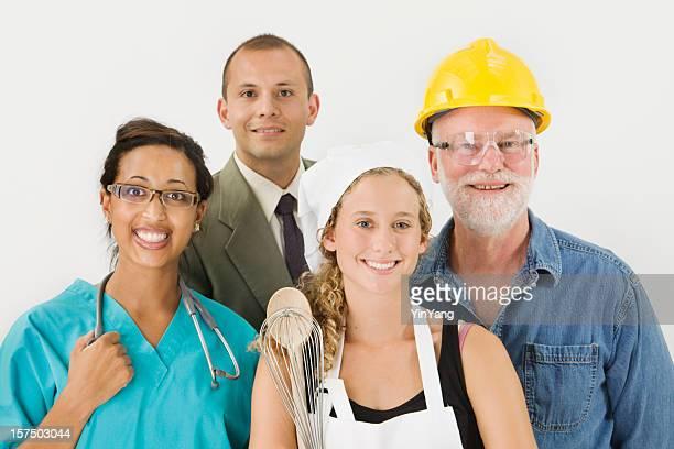職業、、求人就職の多民族ホワイトの襟とマニュアル作業員
