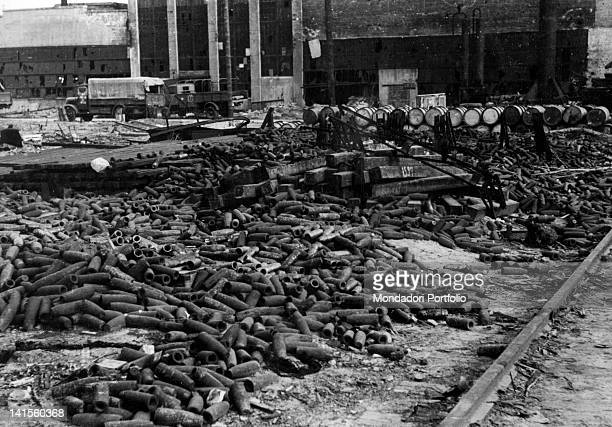 Occupied ammunition factory yard near Kharkiv full of wreck and cases Ukraine July 1942