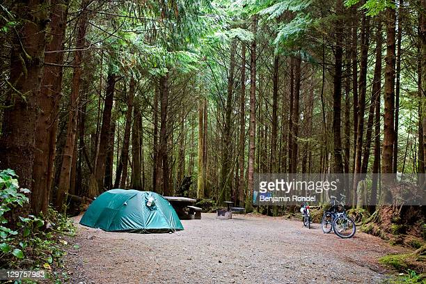 occupied campsite at camping ground - キャンプ ストックフォトと画像