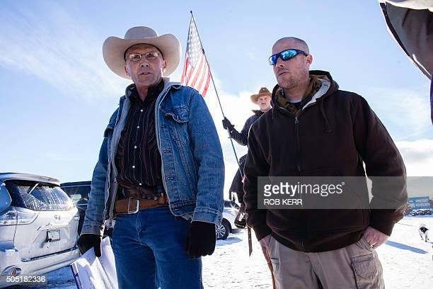 Occupiers LaVoy Finicum and Jon Ritzheimer speak to the media at the Malheur National Wildlife Refuge Headquarters in Burns Oregon on January 15 2016...
