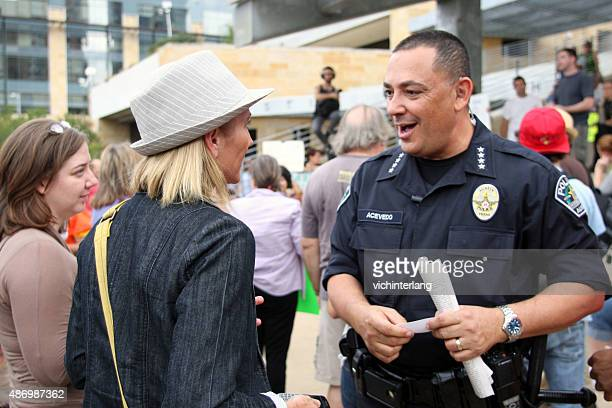 occupy austin day one, oct. 6, 2011 - police chief stock pictures, royalty-free photos & images