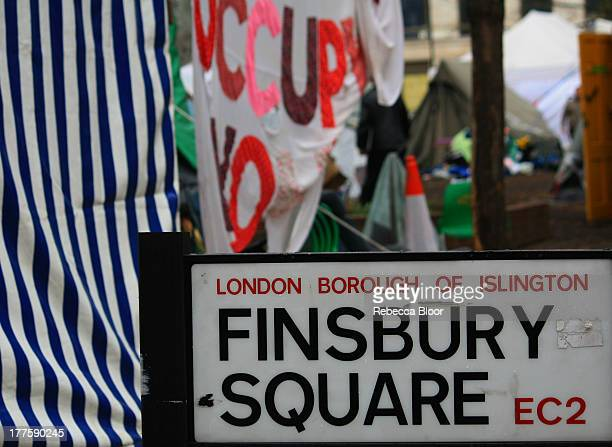 Occupy London camp shortly before eviction at Finsbury Square, London 2012
