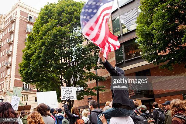 occupy portland march - pioneer square portland stock photos and pictures