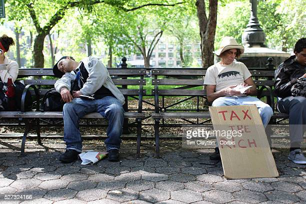 Occupy protesters in Union Square, New York, USA. 1st May 2012. Photo Tim Clayton