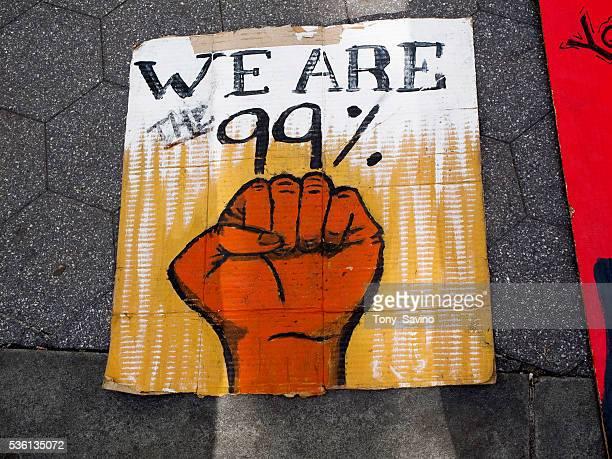 Occupy Wall Street One Year Anniversary - 99% sign at one-year anniversary event at Foley Square, in downtown Manhattan.