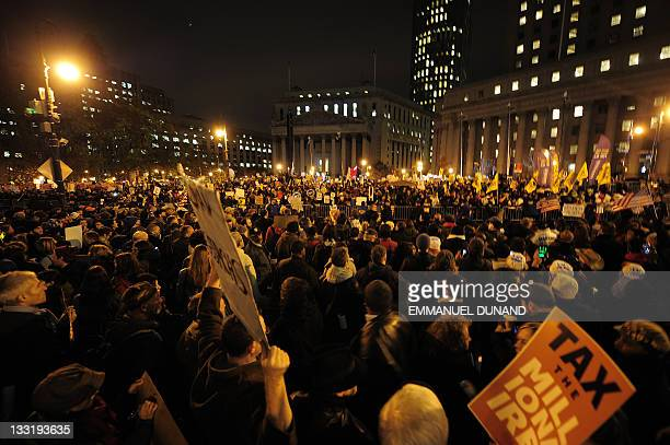 Occupy Wall Street supporters and union workers stage a mass protest on Foley Square in New York, November 17, 2011. AFP PHOTO/Emmanuel Dunand