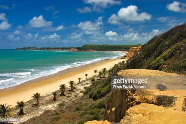 Ocean and earth colored cliffs above the sea in Northeastern Brazil
