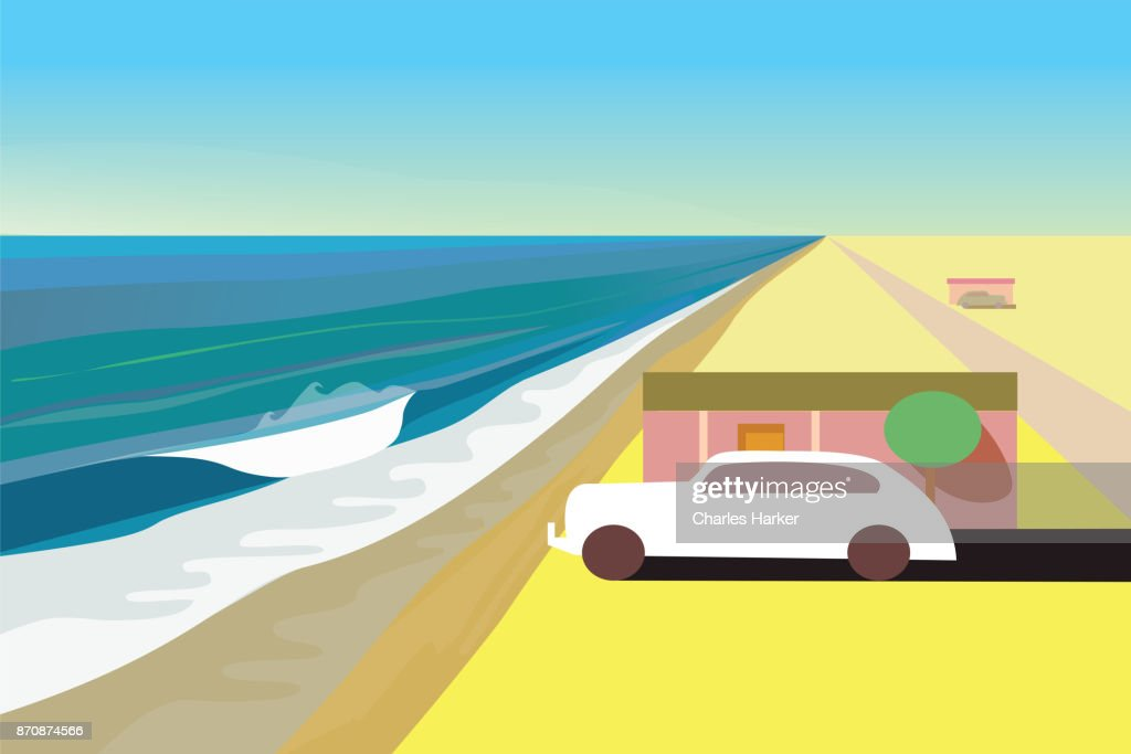 Ocean Beach House with old car in the Desert : Stock Photo