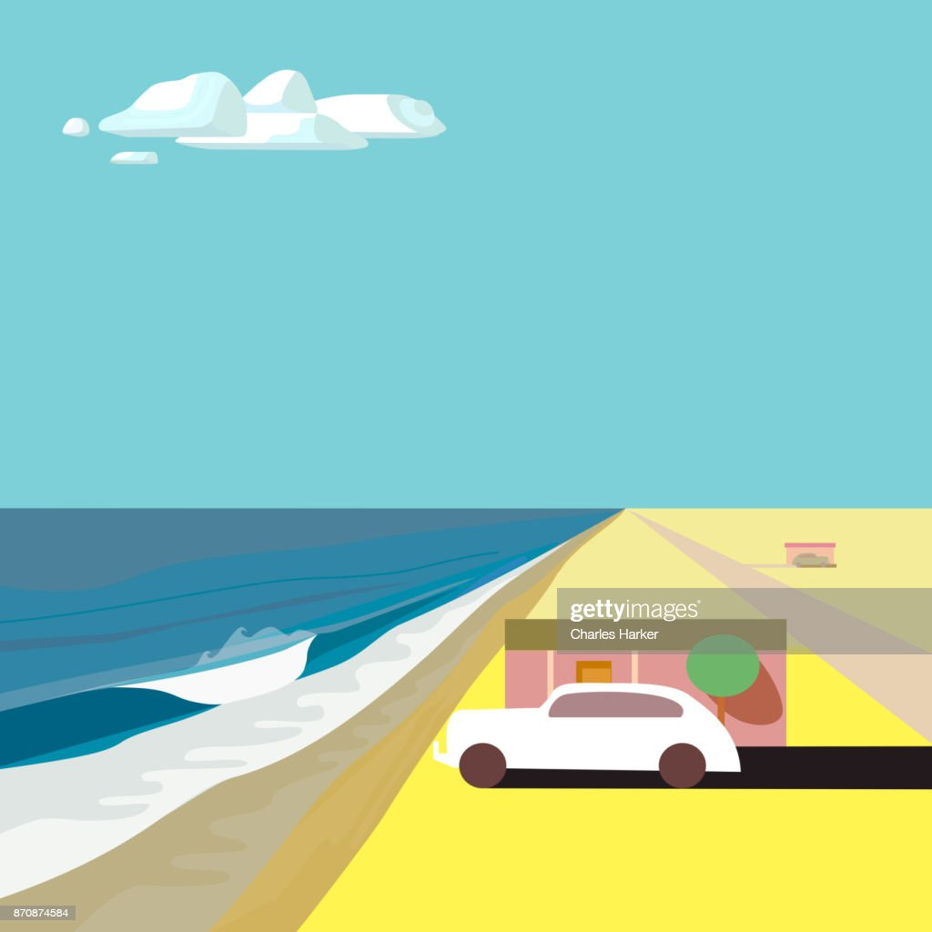 Ocean Beach House with old car where Desert meets the sea : Stock Photo