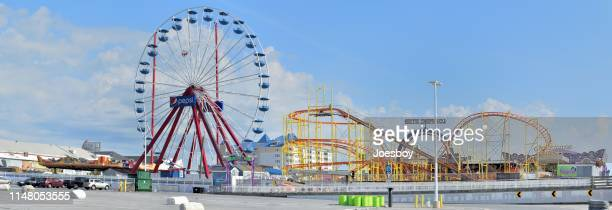 ocean city amusemant park panorama - ocean city maryland stock pictures, royalty-free photos & images