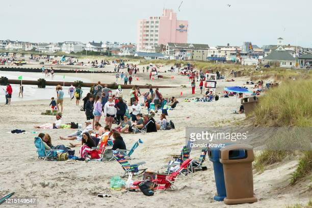 Ocean City beach visitors enjoy Memorial Day weekend taking advantage of the sand on May 25, 2020 in Ocean City, New Jersey.