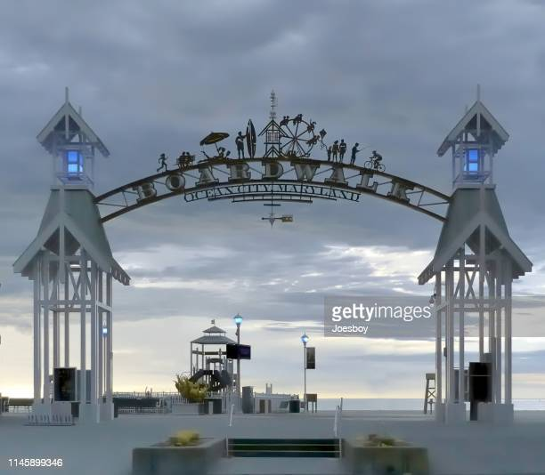 ocean city boardwalk entrance - ocean city maryland stock pictures, royalty-free photos & images