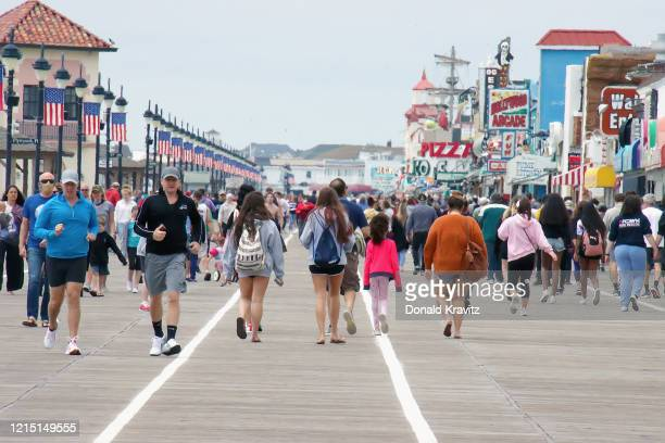 Ocean City continues celebrating Memorial Day weekend with many visitors taking advantage of strolling on the Boardwalk on May 25, 2020 in Ocean...