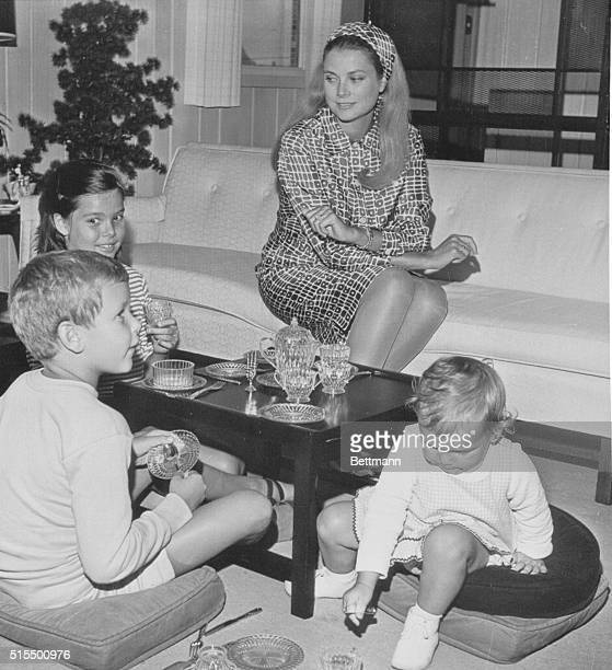 Ocean City New Jersey Princess Grace of Monaco the former Grace Kelly of Philadelphia relaxes at her seashore retreat with her children during...