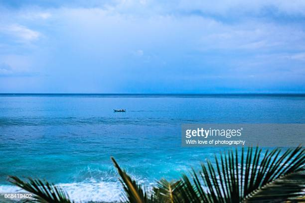 ocean coast view, blue water, blue sky horizont and palm leaves in tropical island