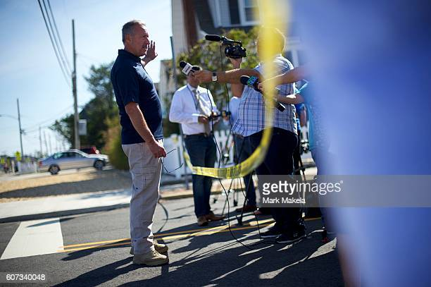Ocean County Prosecutor's Office Police spokesman Al Della Fave address media near the scene of an 'pipe bombstyle device' explosion on September 17...