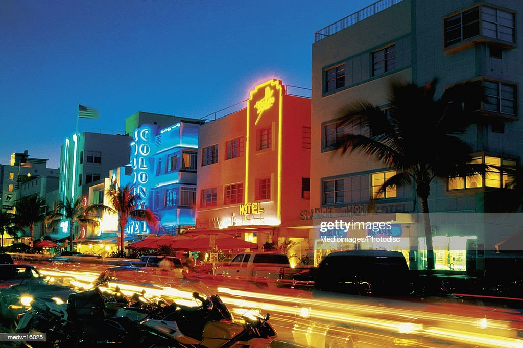 Ocean Drive At Night In Miami Beach Florida USA Stock Photo