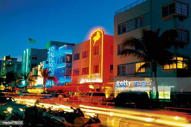 Ocean Drive at night in Miami Beach, Florida, USA