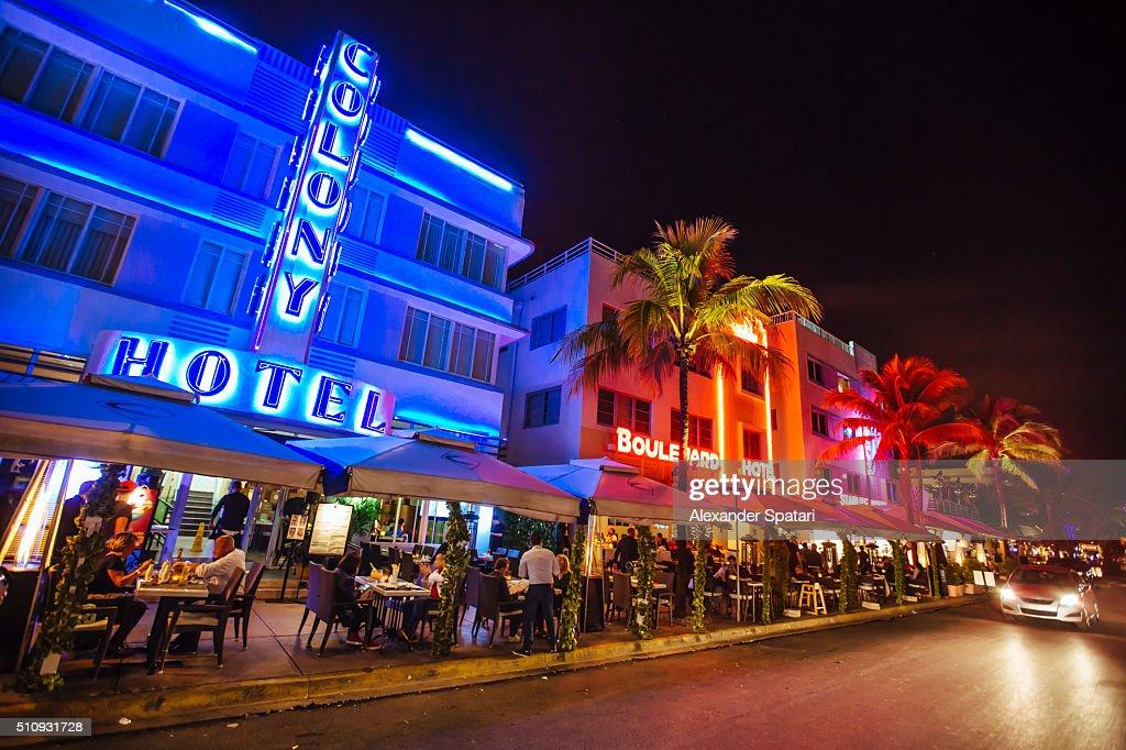 Ocean Drive At Night Miami Beach Florida USA