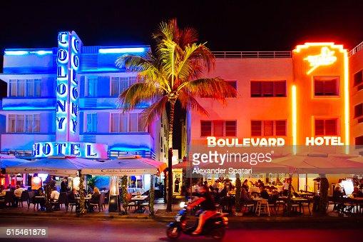 Ocean Drive At Night Miami Beach Florida Usa Stock Photo